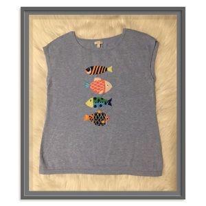 Talbots Women's Multi-Color Fish Sweater